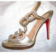 Christian Louboutin gold diamante sandals