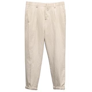 J Lindeberg Beige Cotton-Blend Trousers