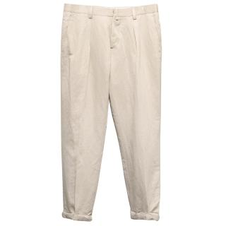 J Lindeberg Beige Cotton-Blend Trousers