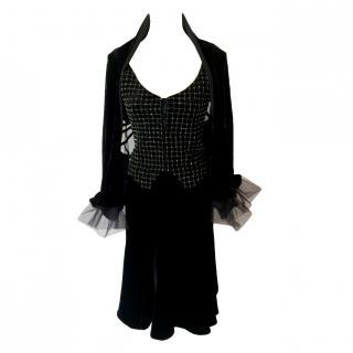 GIORGIO ARMANI Runway Black Velvet Skirt