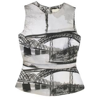 Mary Katrantzou Bridge Print Peplum Top
