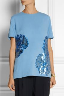 Richard Nicoll embellished crepe top with sequins