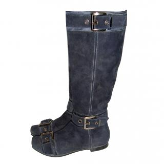 SHY long blue suede boots