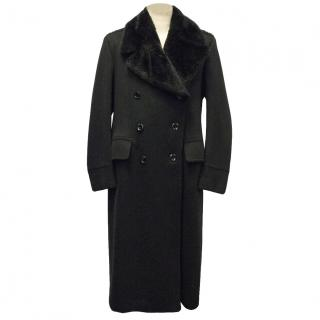 Tom Ford Black Cashmere Coat with Beaver Fur Collar