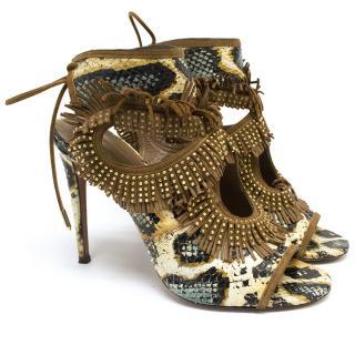 Aquazzura Snake Print Fringe Peep Toe Shoes