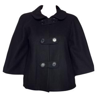 Maje short black wool blend coat
