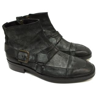 Dolce & Gabbana  Black and Grey Distressed Ankle Boots