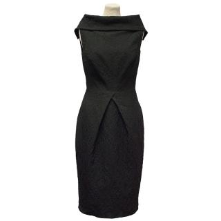 Philip Armstrong Black Floral Print Dress with Mesh Back
