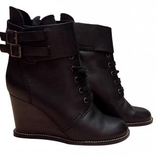 See By Chloe Black Wedge Boots