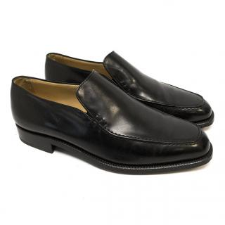 Manolo Blahnik Black Leather Loafers With Side Stitch Detail
