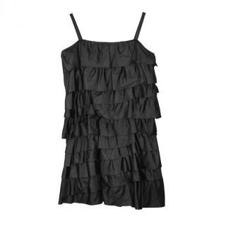 Moschino Black Silk Ruffle Dress