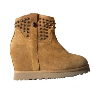 Ash Suede Sheep Wedge Boots