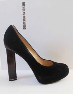 Nicholas Kirkwood suede shoes with tortoise shell heel