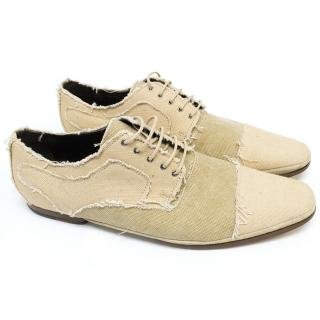 Dolce and Gabbana Beige and Cream Canvas Shoes