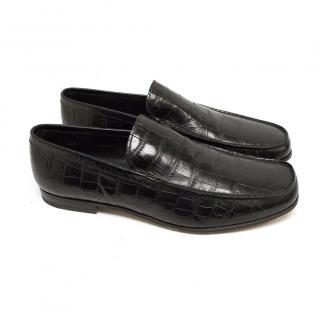 Prada Black Croc Loafers