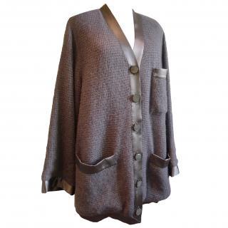 Giorgio Armani Black Label grey mohair&silk cardigan
