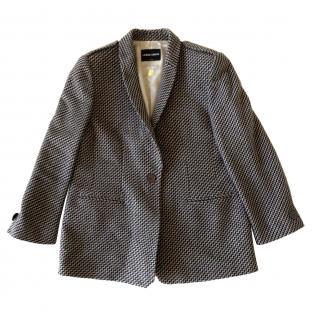 Giorgio Armani Black Label grey knit blazer zig zag