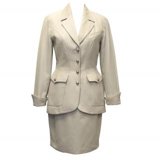 Thierry Mugler Beige Signature Suit With Silver Buttons