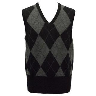 Brooks Brothers Black and Grey Cashmere Argyle Vest