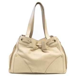 Mulberry Cream Leather Shoulder Bag With Gold Hardware