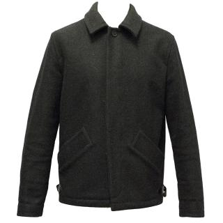 A.P.C Grey Wool Coat With Leather Detailing