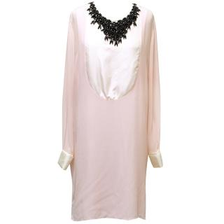 Malene Birger Pink and White Dress with Black Beading