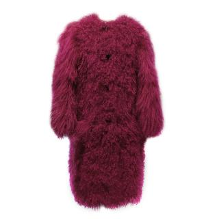 Sonia Rykiel Pink Tibet Lamb and Rabbit Fur Coat