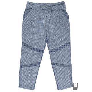 Paul & Joe Checkered Silk Blue Trousers