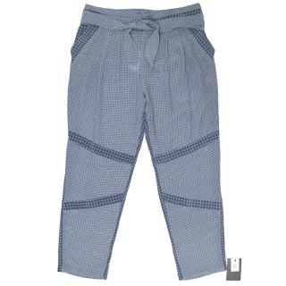 Paul & Joe Checkered Silk Blue Trousers