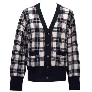 Brooks Brothers Navy Checkered Cashmere Cardigan