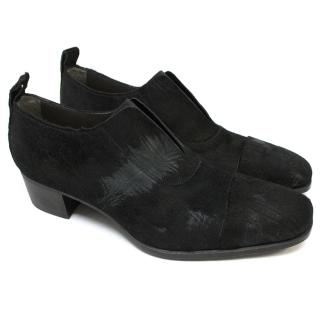 Yves Saint Laurent Black Pony Hair Loafers With Elastic Detail