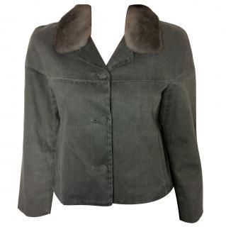 Miu Miu grey denim jacket with mink fur collar
