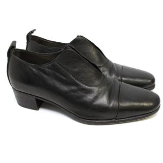 Yves Saint Laurent Black Leather Loafers With Elastic Detail