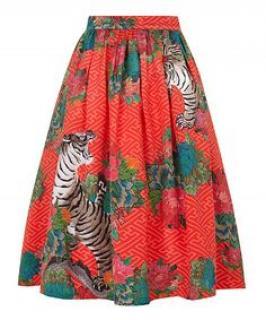Horiyoshi  Vibrant Cheery Red Botan Jungle Skirt