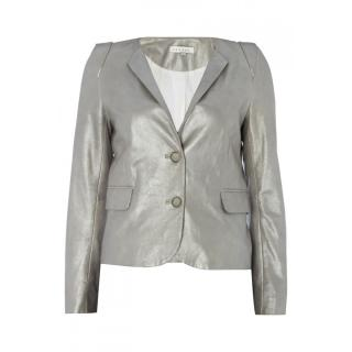 Sandro silver leather jacket