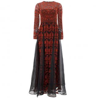 Valentino Tulle Illusione� Red Long Sleeve Pleated Gown
