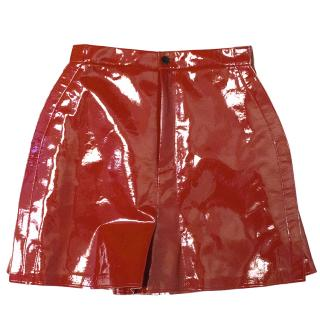 Junya Watanabe Comme des Garcons Polyurethane Red Skirt