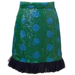 House of Holland Polka dot blue sequin skirt