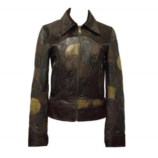 Dolce & Gabbana Calfskin Patchwork Brown Jacket