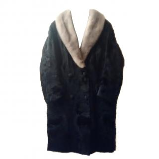 Luxurious Vintage Pony Skin Coat With Silver Fox Collar