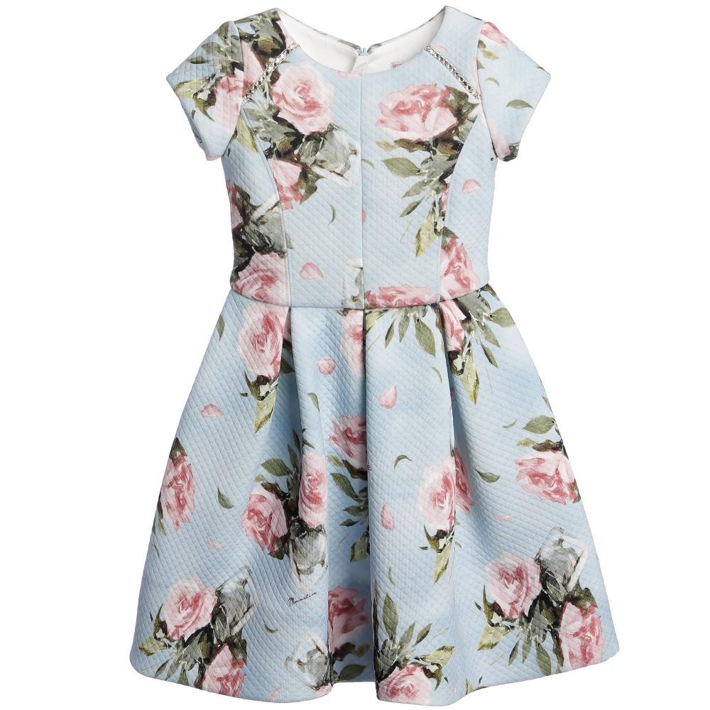 Monnalisa Pale Blue Pink Floral Neoprene Dress Hewi London