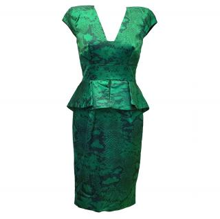Philip Armstrong Green Satin Peplum Dress
