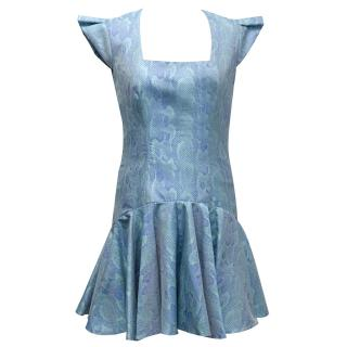 Philip Armstrong Blue Snakeprint Flared Dress