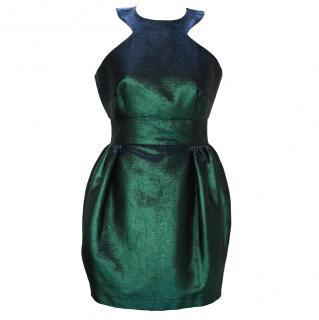 Philip Armstrong Green Metallic Sleeveless Dress