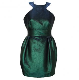 Philip Armstrong Green Metallic Sleeveless Dress