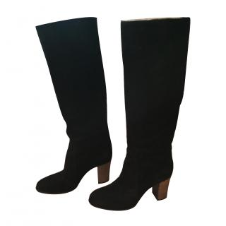 Sergio Rossi Long Black Suede Boots