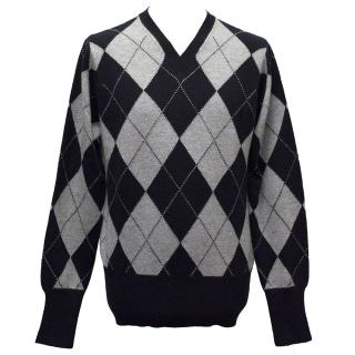 Brooks Brothers Blue and Grey Cashmere Argyle Jumper
