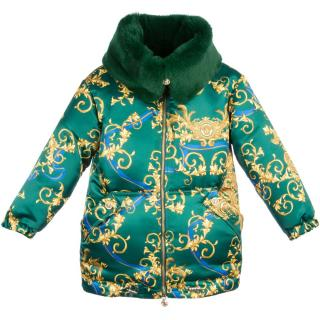 Young Versace Girl's Silk Coat with Fur Collar