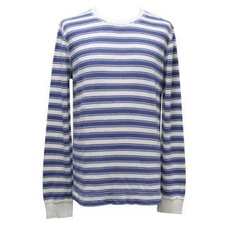 Dolce & Gabbana White & Blue Cotton-Blend Striped Shirt