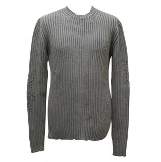 Dolce & Gabbana Grey Distressed Wool-Blend Jumper